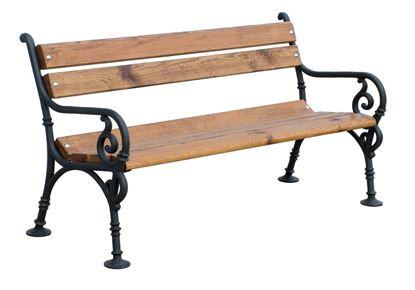 PANCHINA VIENNA con supporti in ghisa, seduta e spalliera in pino