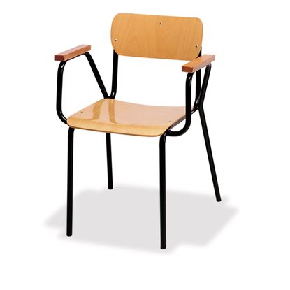 Poltroncina insegnanti con sedile, schienale e braccioli in faggio