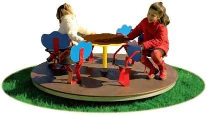 GIOSTRA girevole con sedili a 6 posti e pianale in legno