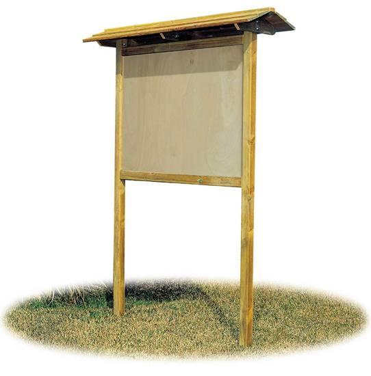 BACHECA IN LEGNO con tetto a 2 falde e pannello per affissione cm. 140x100