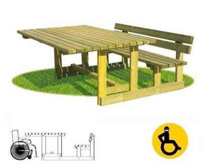TAVOLO PIC-NIC per disabili su carrozzina e n.01 seduta con spalliera