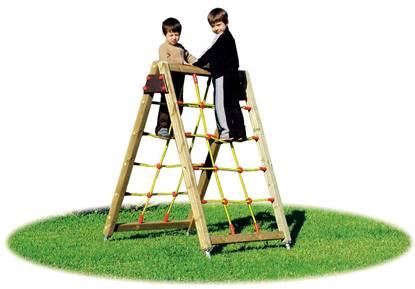 SARTIA STELLA in legno con rete in corda bifacciale per arrampicata