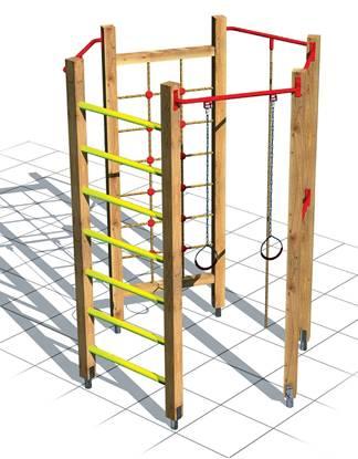 PALESTRINA ESAGONALE composta da n°1 rete di arrampicata, n°1 fune, n°2 barre orizzontali, n°1 coppia di anelli, n°1 spalliera svedese, n°1 pertica
