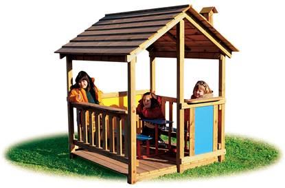 CASETTA CANADA in legno con tetto a 2 falde e n.2 panche interne con tavolino