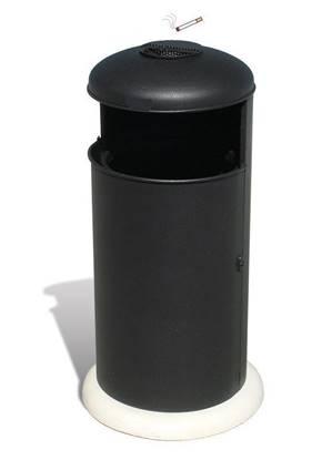 CESTONE ORIONE in acciaio con anta apribile, posacenere superiore e base in calcestruzzo