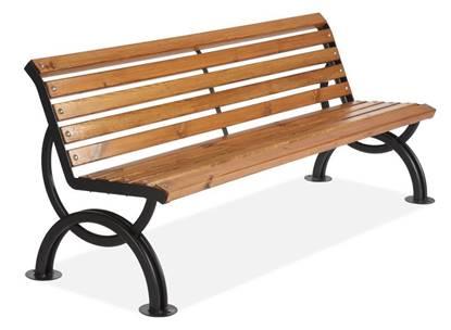 PANCHINA BELVEDERE con supporti in acciaio, seduta e schienale in legno