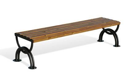 PANCA BELVEDERE con supporti in acciaio e seduta in legno