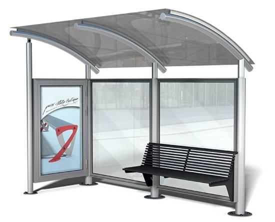 PENSILINA VIETRI per attesa autobus completa di bacheca bifacciale con sistema di illuminazione interno e panchina