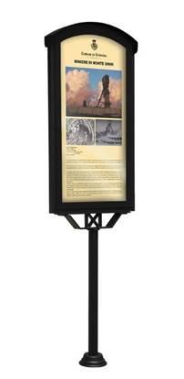 TABELLA ANZIO a giorno su palo per descrizione monumenti, dim. utili per affissione cm. 53x105 h
