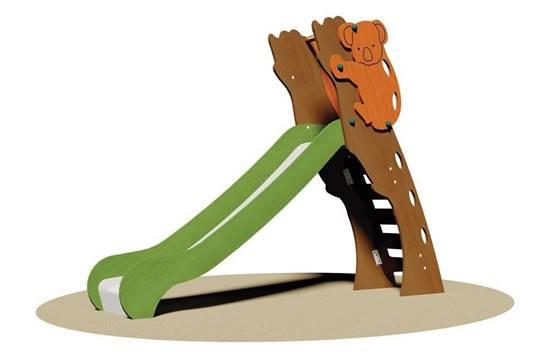 SCIVOLO KOALA con scala in legno e scivolo in acciaio inox