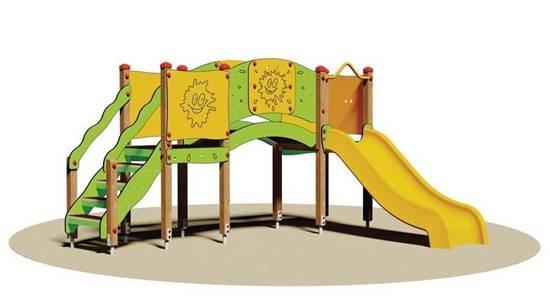 TORRETTA FUNNY con scivolo in materiale plastico e ponte curvo
