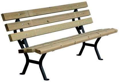 PANCHINA DESIRÈE con supporti in acciaio, seduta e schienale in legno