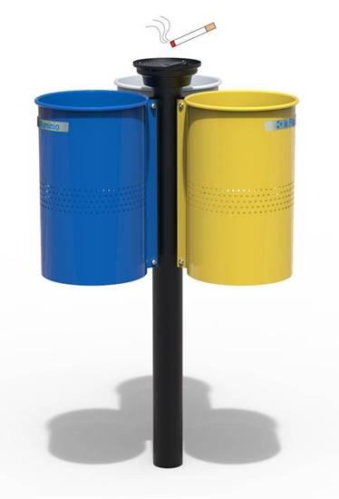 CESTINO MIRANDA per raccolta differenziata con n.3 cestini con palo centrale completo di posacenere superiore