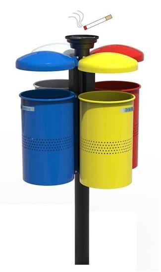 CESTINO MIRANDA per raccolta differenziata con n.4 cestini con tettucci ribaltabili e palo centrale completo di posacenere