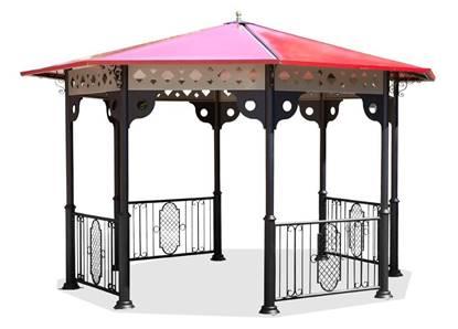 GAZEBO OTTAGONALE struttura in acciaio e copertura in vetroresina, completo di impianto di illuminazione interno