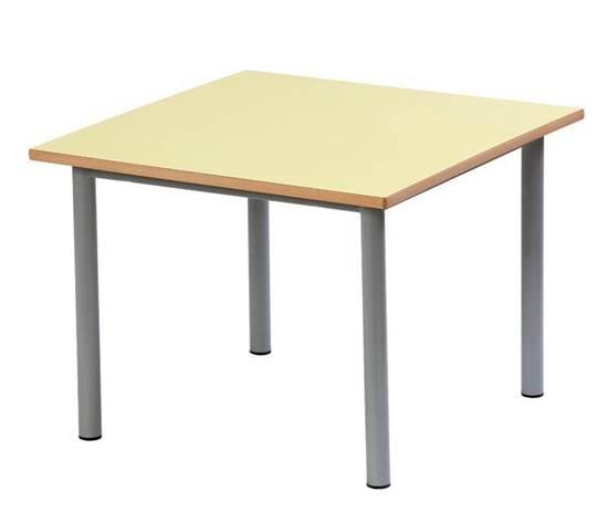 Tavolo quadrato per scuola materna con struttura in acciaio e piano in legno