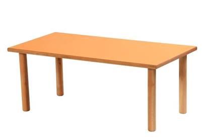 Tavolo rettangolare per scuola materna con piedi in massello di faggio e piano in legno