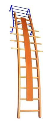 Scala ortopedica curva in legno con telaio in acciaio per regolazione altezza e inclinazione