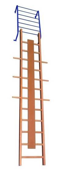 Scala ortopedica diritta in legno con telaio in acciaio per regolazione altezza e inclinazione