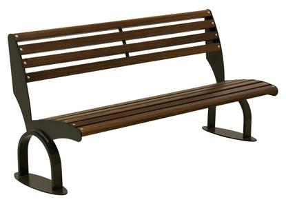 PANCHINA ATENE con supporti in acciaio, seduta e schienale in legno