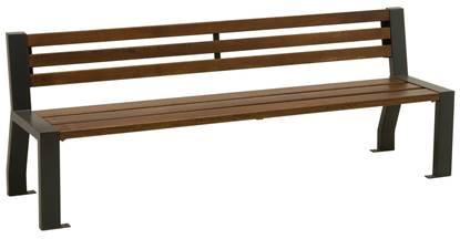 PANCHINA RIGA con supporti in acciaio, seduta e schienale in legno