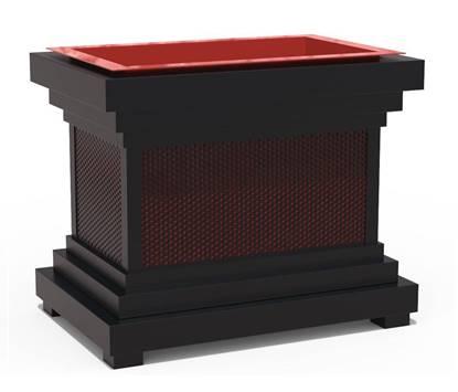 FIORIERA SORRENTO struttura in acciaio con contenitore interno in vetroresina. Dim. cm.  90x60x74 h.