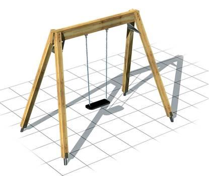 ALTALENA GIAMAICA a 1 posto con trave e montanti in legno
