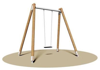 ALTALENA MICHIGAN a 1 posto con trave in acciaio e montanti in legno