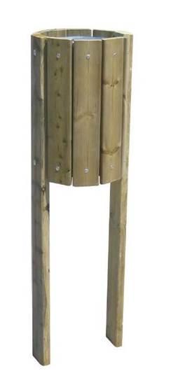 CESTINO FOREST in lamiera di acciaio rivestito con doghe in legno completo di n.2 pali in legno