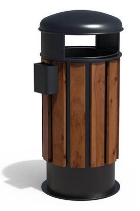CESTONE LIGNANO in acciaio rivestito con doghe in legno, completo di coperchio e posacenere