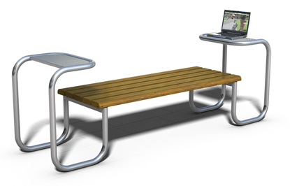 PANCHINA TABLET con supporti in acciaio completi di pianetti di appoggio, seduta in legno