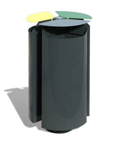 CESTONE TERNO per 3 tipologie di rifiuti con coperchi ribaltabili e anelli fermasacco