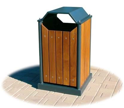 CESTONE BASSANO basculante in acciaio zincato rivestito con doghe in legno