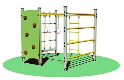 PALESTRINA ALU in alluminio composta da n°1 rete di arrampicata, n°1 scaletta verticale, n°1 coppia di anelli, n°1 spalliera svedese, n°1 pannello arrampicata con appigli
