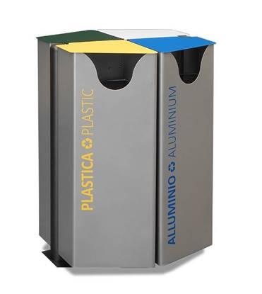 CESTONE QUATERNA per 4 tipologie di rifiuti con coperchi ribaltabili e anelli fermasacco