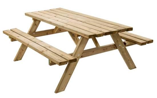 TAVOLO PIC-NIC monoblocco in legno completo di n.02 sedute sospese