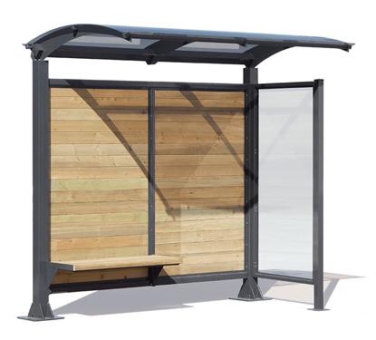 Cod. MPN74 PENSILINA GINEVRA per attesa autobus con struttura in acciaio e rivestimento realizzato con fasce in legno di pino nordico, completa di panca interna