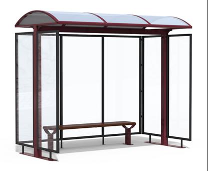 PENSILINA IMPERIALE per attesa autobus con struttura in acciaio e tamponamenti in vetro, completa di panca interna
